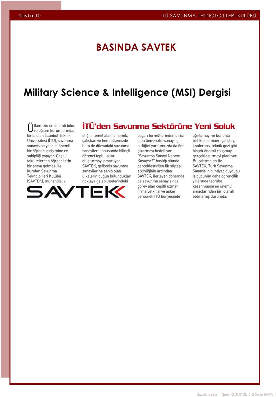 Intelligence (MSI) Dergisi