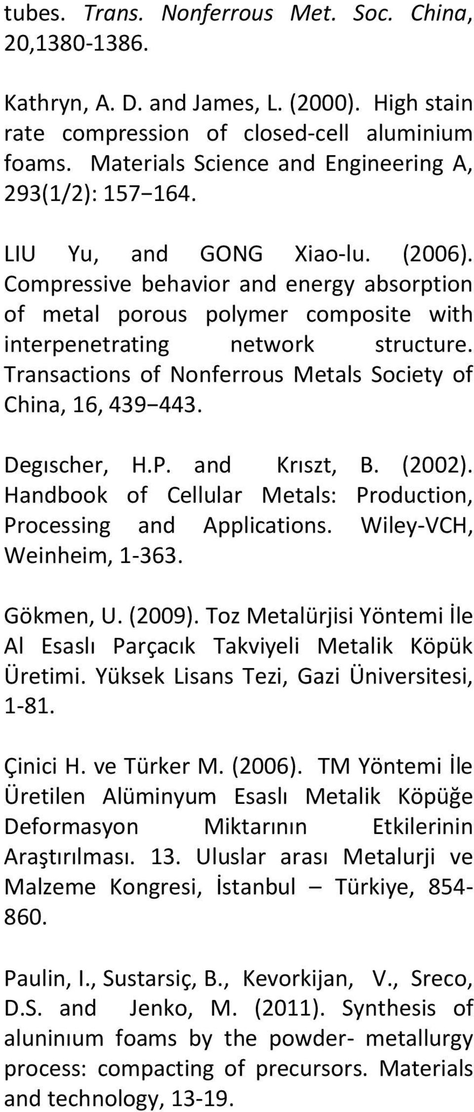 Compressive behavior and energy absorption of metal porous polymer composite with interpenetrating network structure. Transactions of Nonferrous Metals Society of China, 16, 439 443. Degıscher, H.P.