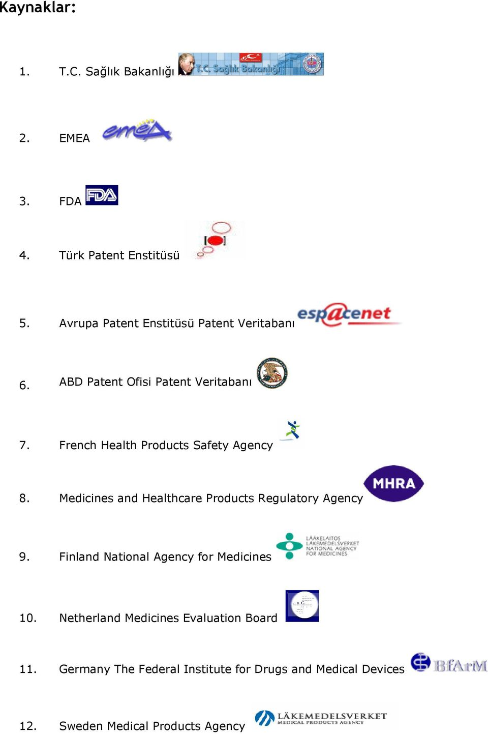 French Health Products Safety Agency 8. Medicines and Healthcare Products Regulatory Agency 9.