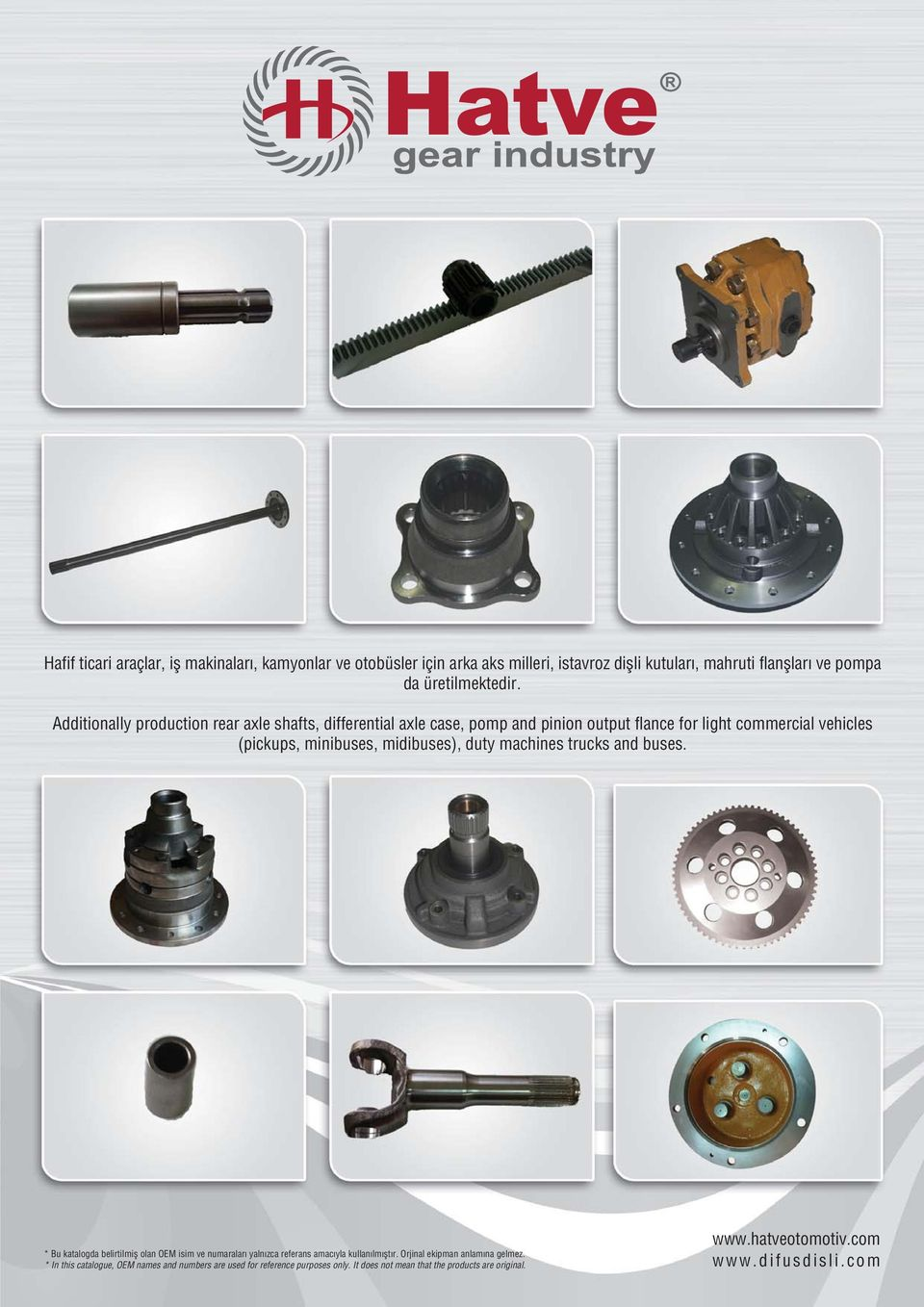 Additionally production rear axle shafts, differential axle case, pomp and pinion