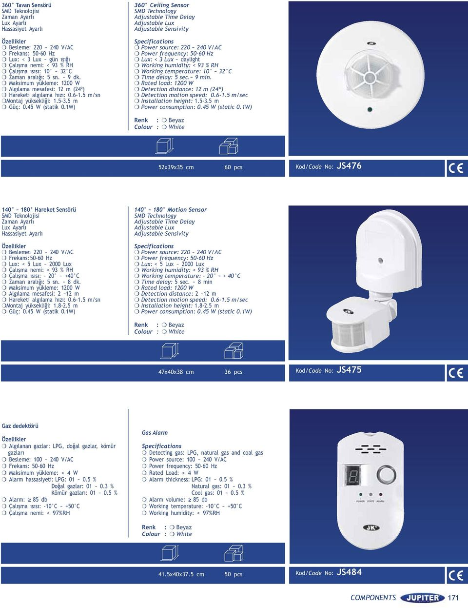 1) 360 Ceiling Sensor SMD Technology Adjustable Time Delay Adjustable Lux Adjustable Sensivity Specifications Power source: 220 ~ 240 /AC Power frequency: 50-60 Hz Lux: < 3 Lux ~ daylight orking