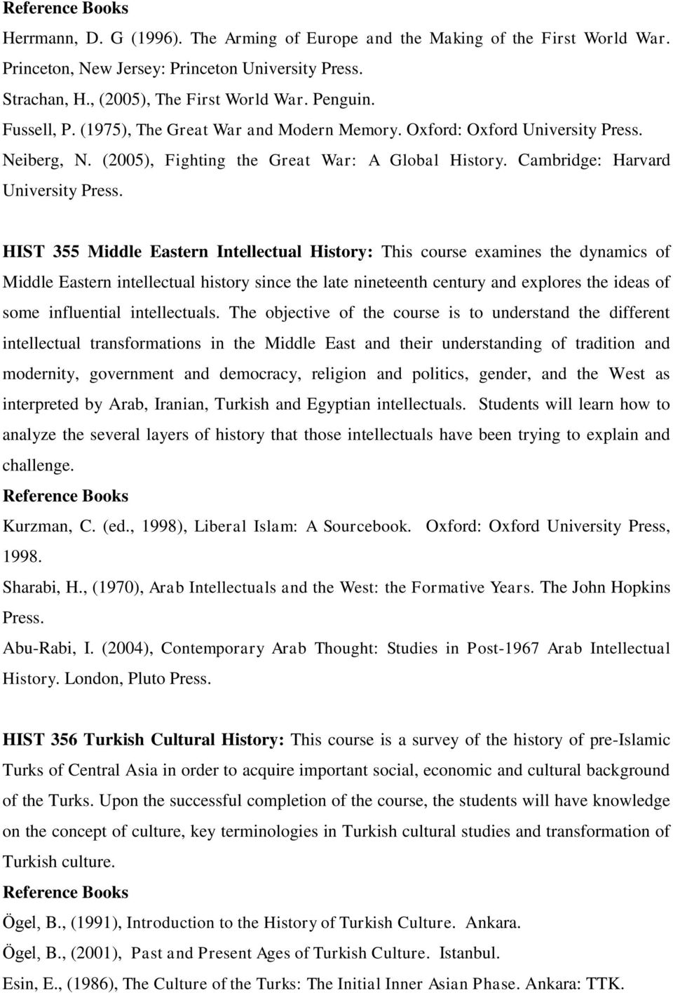 HIST 355 Middle Eastern Intellectual History: This course examines the dynamics of Middle Eastern intellectual history since the late nineteenth century and explores the ideas of some influential