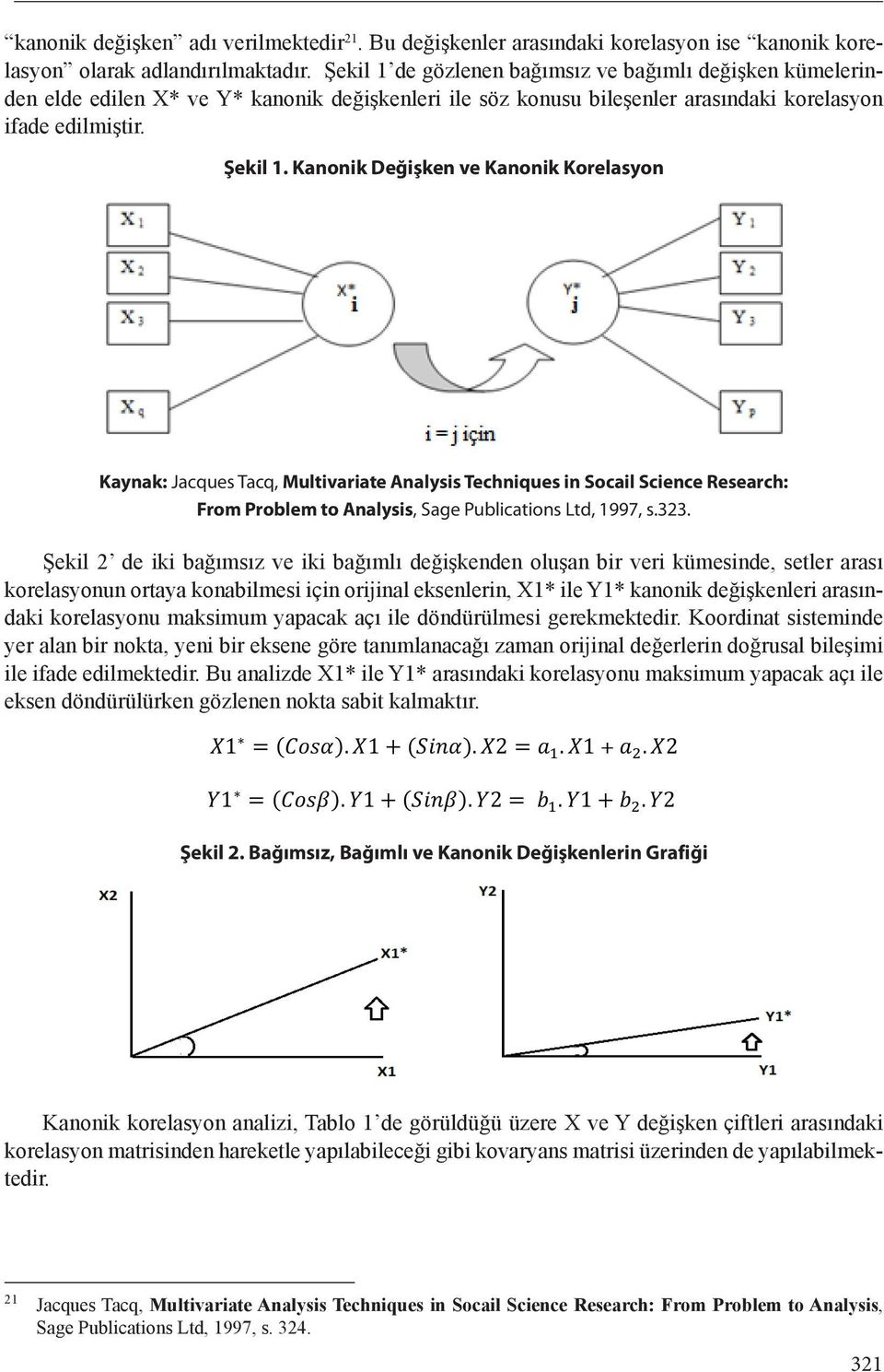 Kanonik Değişken ve Kanonik Korelasyon Kaynak: Jacques Tacq, Multivariate Analysis Techniques in Socail Science Research: From Problem to Analysis, Sage Publications Ltd, 1997, s.323.