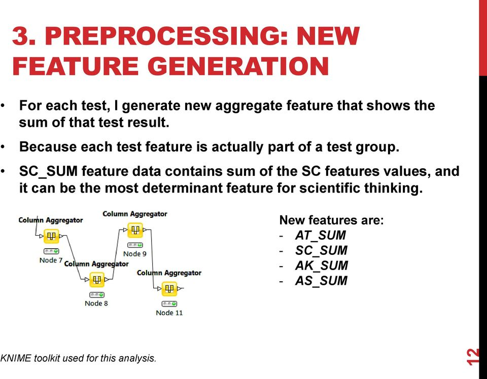 SC_SUM feature data contains sum of the SC features values, and it can be the most determinant feature