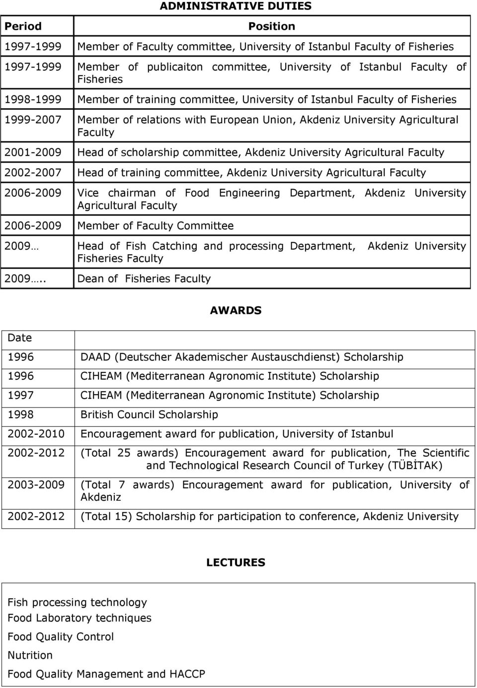 of scholarship committee, Akdeniz University Agricultural Faculty 2002-2007 Head of training committee, Akdeniz University Agricultural Faculty 2006-2009 Vice chairman of Food Engineering Department,