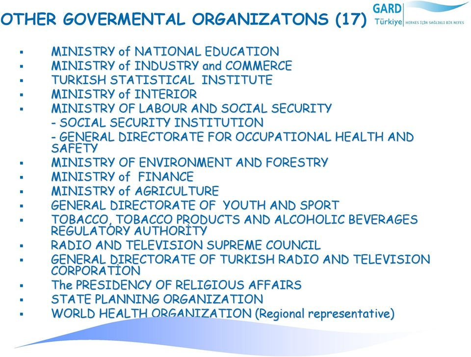 AGRICULTURE GENERAL DIRECTORATE OF YOUTH AND SPORT TOBACCO, TOBACCO PRODUCTS AND ALCOHOLIC BEVERAGES REGULATORY AUTHORİTY TY RADIO AND TELEVISION SUPREME COUNCIL GENERAL