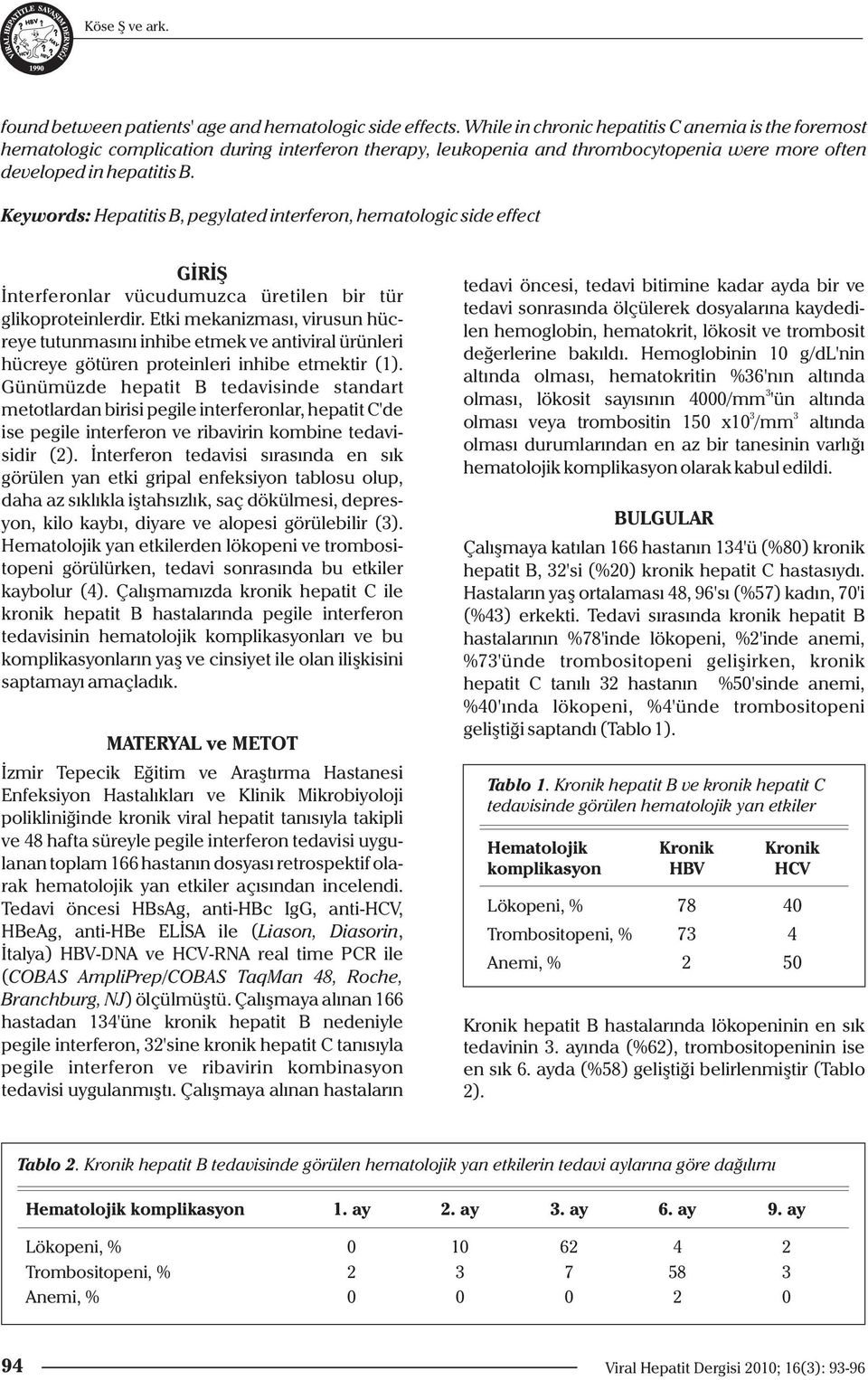 Keywords: Hepatitis B, pegylated interferon, hematologic side effect GİRİŞ İnterferonlar vücudumuzca üretilen bir tür glikoproteinlerdir.