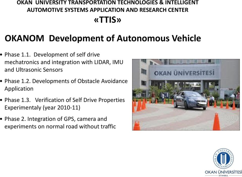 1. Development of self drive mechatronics and integration with LIDAR, IMU and Ultrasonic Sensors Phase 1.2.
