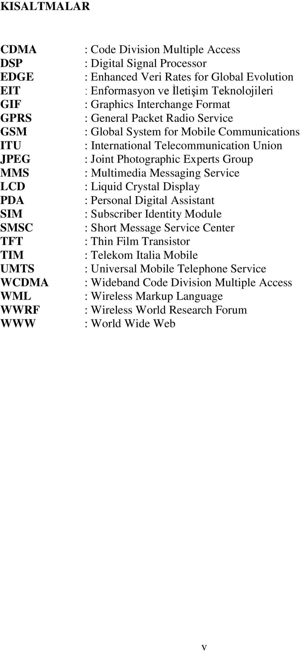 Telecommunication Union : Joint Photographic Experts Group : Multimedia Messaging Service : Liquid Crystal Display : Personal Digital Assistant : Subscriber Identity Module : Short Message