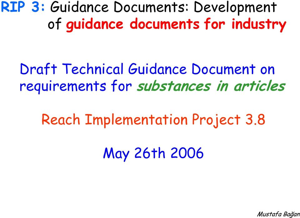 Guidance Document on requirements for substances