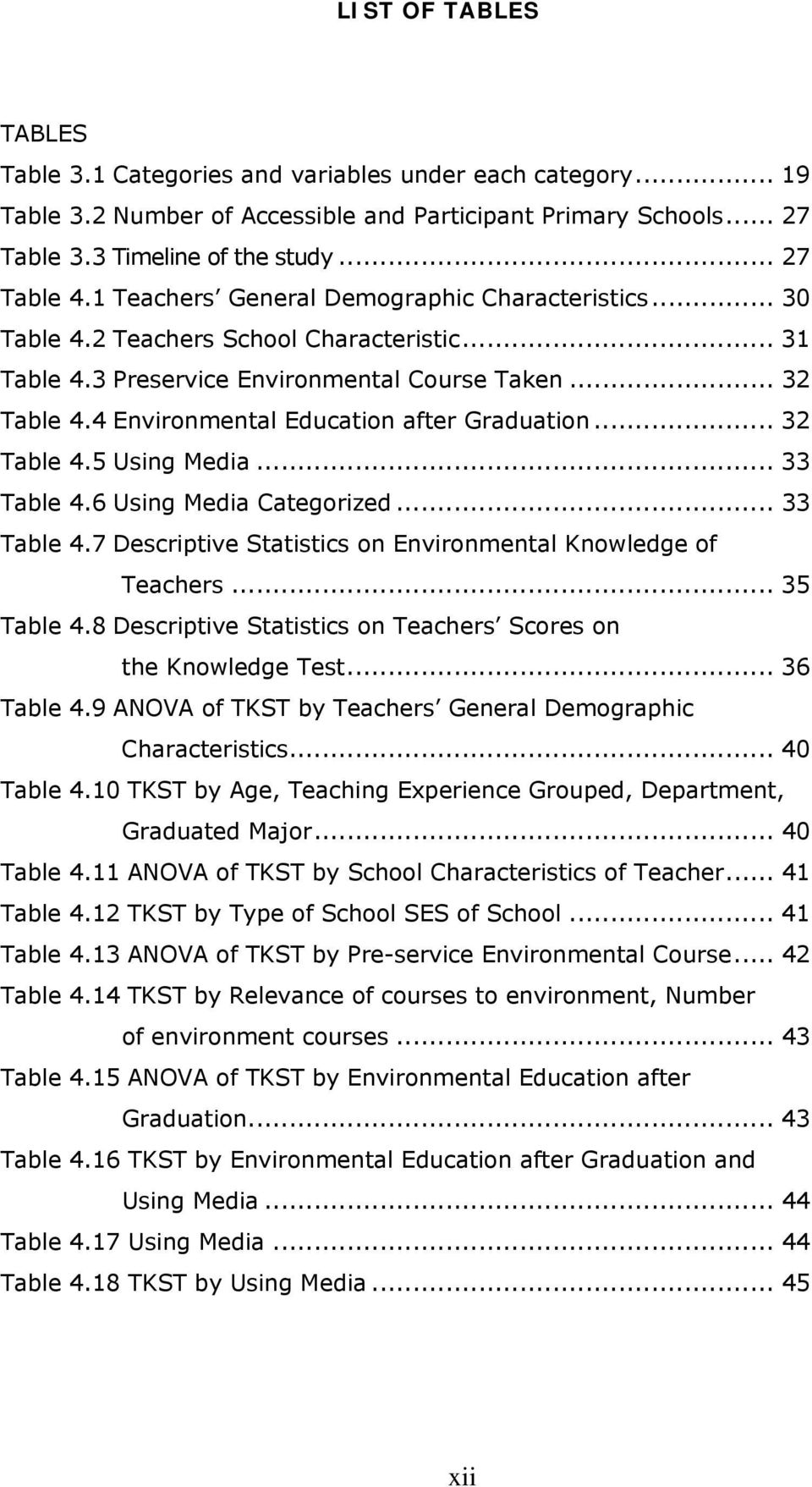 4 Environmental Education after Graduation... 32 Table 4.5 Using Media... 33 Table 4.6 Using Media Categorized... 33 Table 4.7 Descriptive Statistics on Environmental Knowledge of Teachers.