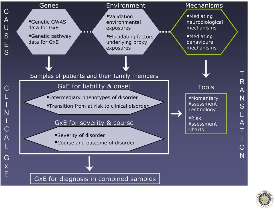 family members GxE for liability & onset Intermediary phenotypes of disorder Transition from at risk to clinical disorder GxE for severity & course