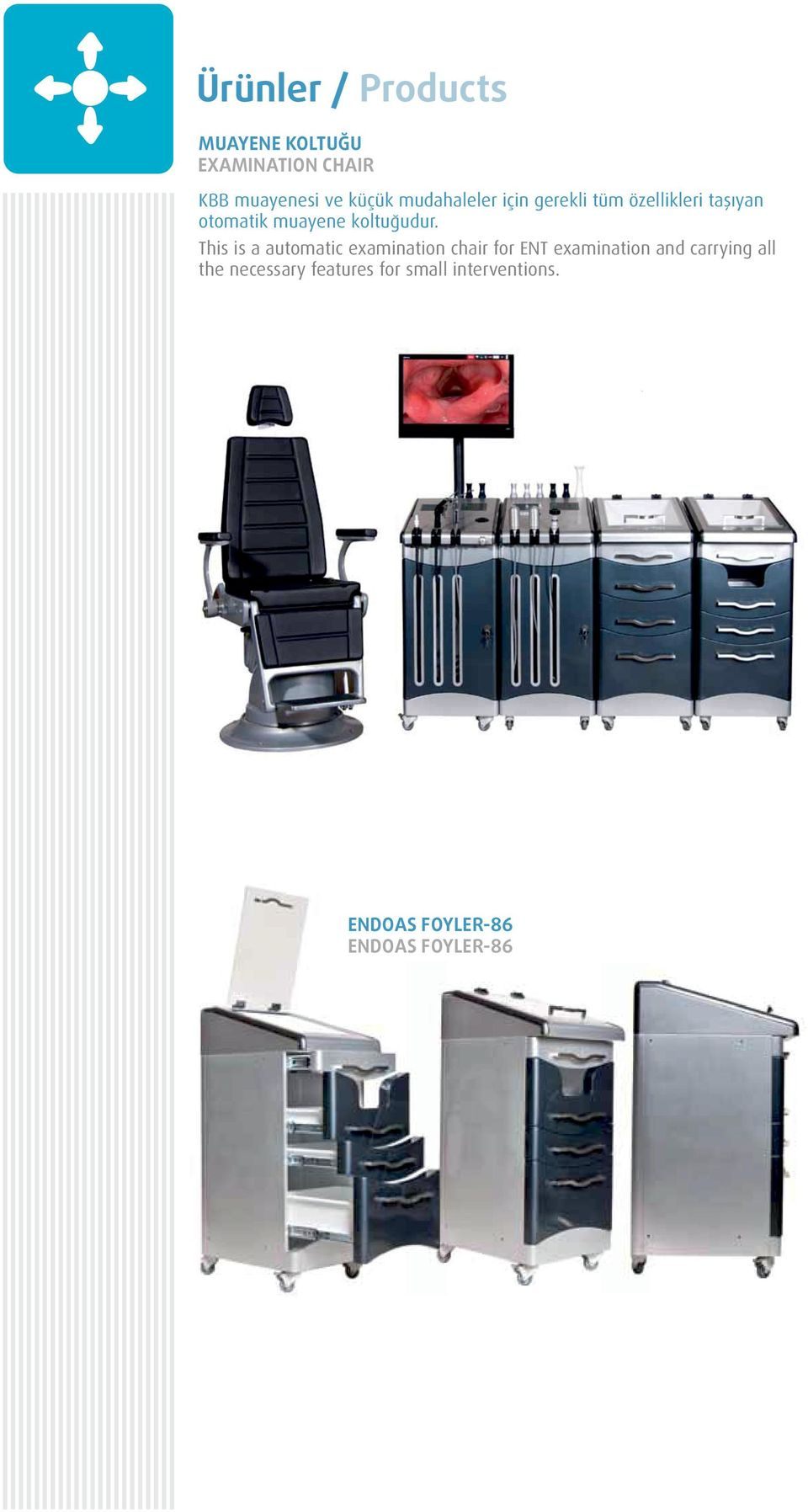 This is a automatic examination chair for ENT examination and carrying all