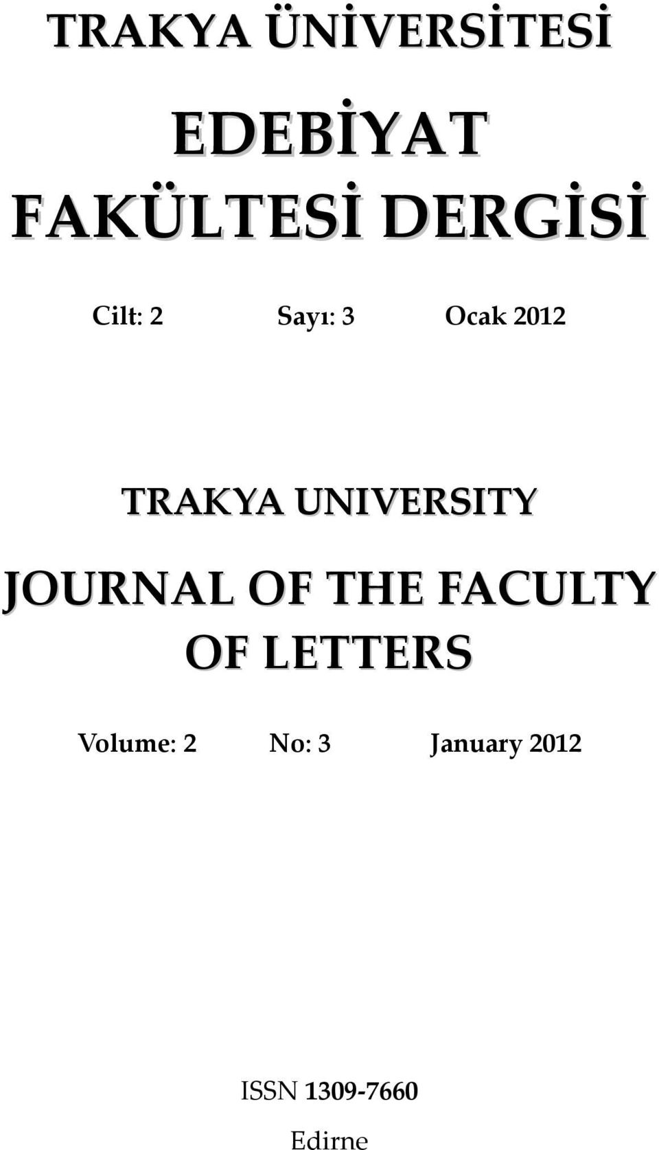 UNIVERSITY JOURNAL OF THE FACULTY OF