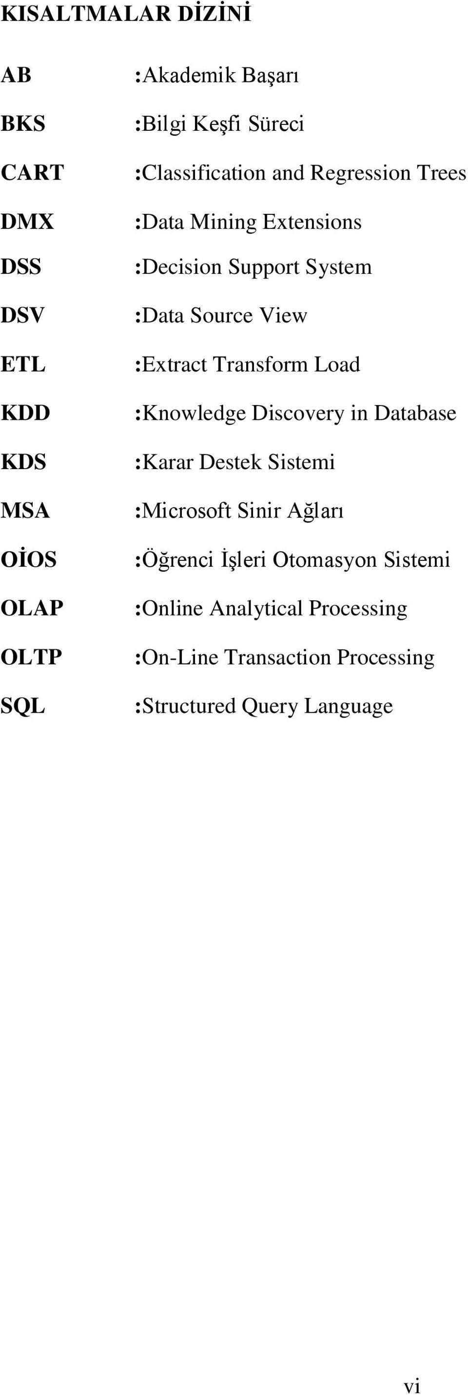 :Extract Transform Load :Knowledge Discovery in Database :Karar Destek Sistemi :Microsoft Sinir Ağları :Öğrenci