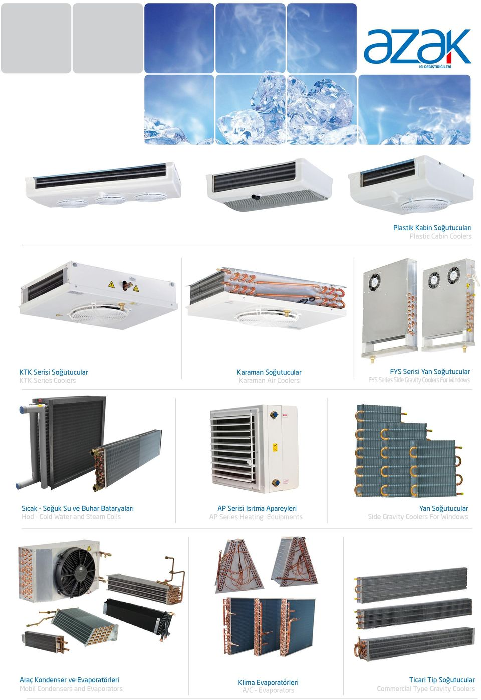 FYS Serisi Yan Soğutucular FYS Series Side Gravity Coolers For Windows AP Serisi Isıtma Apareyleri AP Series Heating Equipments Yan