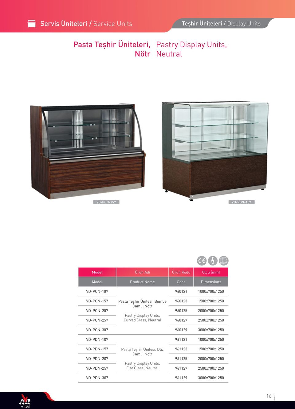 VD-PCN-257 Pastry Display Units, Curved Glass, Neutral 960127 2500x700x1250 VD-PCN-307 960129 3000x700x1250 VD-PDN-107 961121 1000x700x1250 VD-PDN-157 VD-PDN-207 Pasta