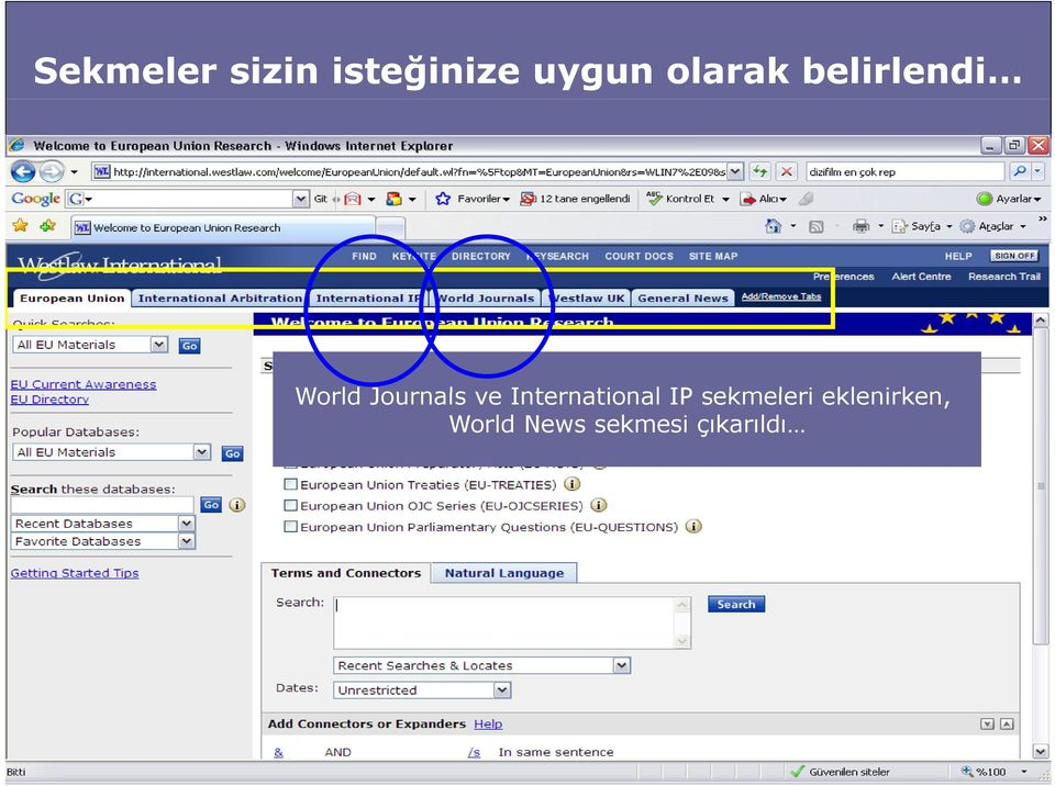 sekmeleri eklenirken World Journals ve