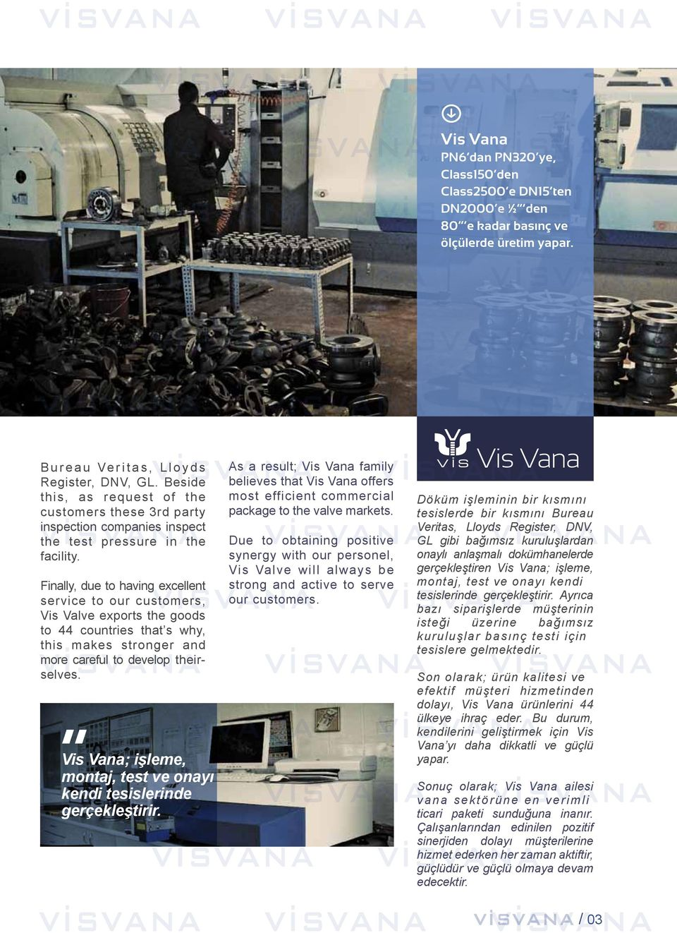 Finally, due to having excellent service to our customers, Vis Valve exports the goods to countries that s why, this makes stronger and more careful to develop theirselves.