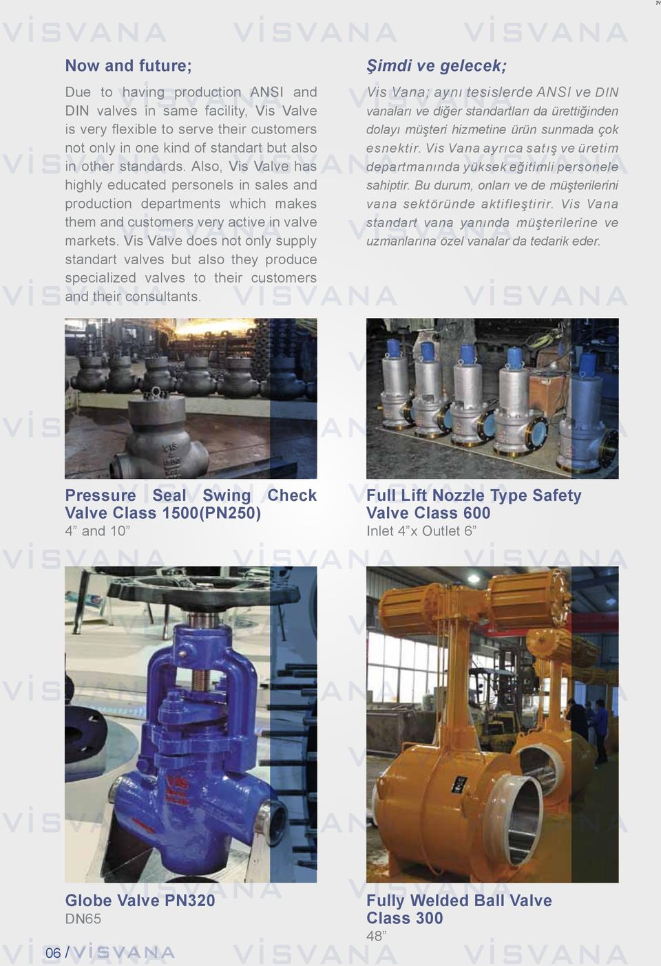 Vis Valve does not only supply standart valves but also they produce specialized valves to their customers and their consultants.