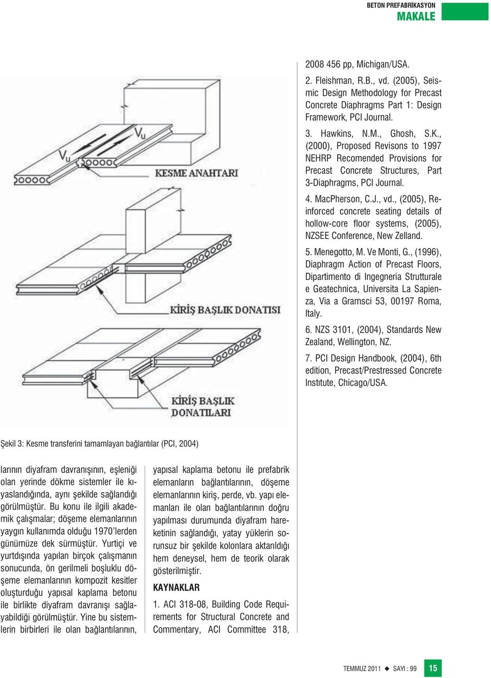 , (2005), Reinforced concrete seating details of hollow-core floor systems, (2005), NZSEE Conference, New Zelland. 5. Menegotto, M. Ve Monti, G.