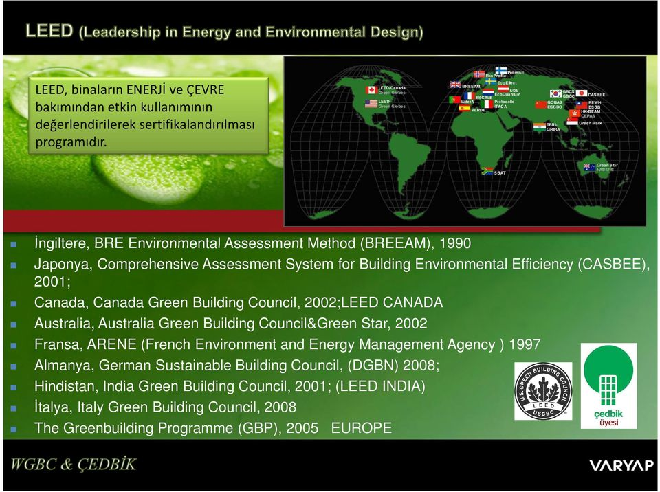 Canada Green Building Council, 2002;LEED CANADA Australia, Australia Green Building Council&Green Star, 2002 Fransa, ARENE (French Environment and Energy Management