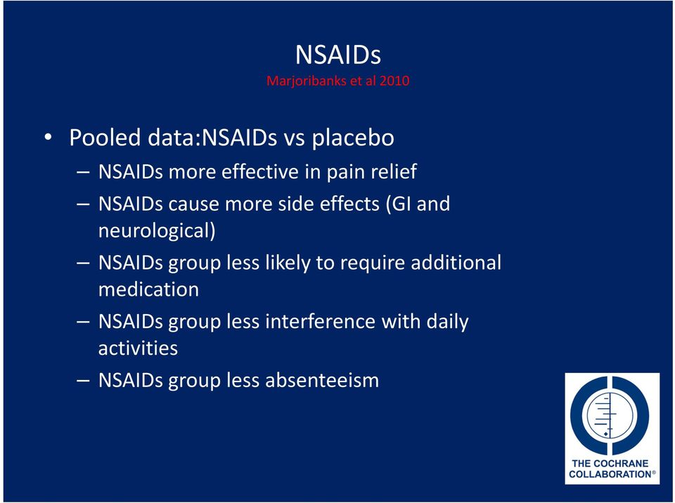 neurological) NSAIDs group less likely to require additional medication