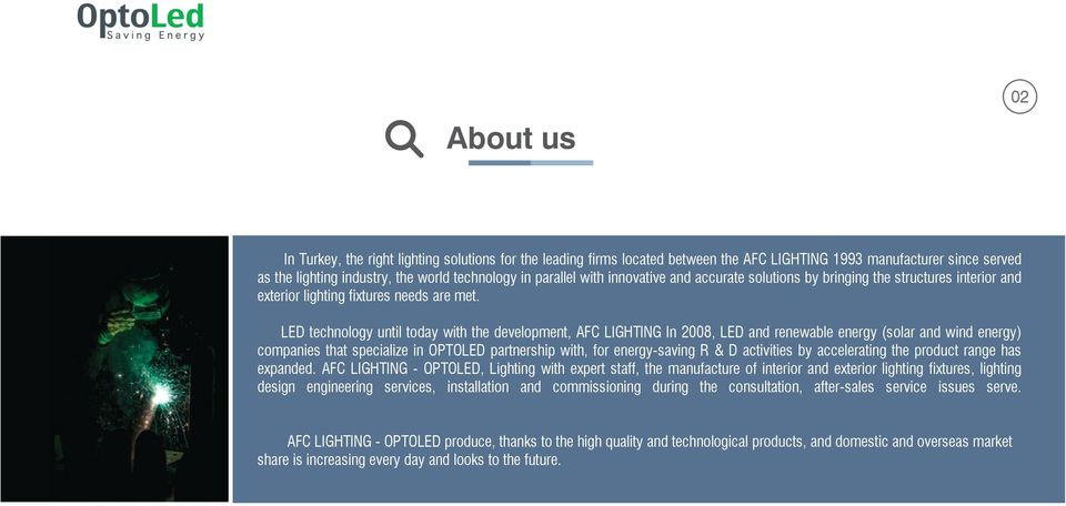 LED technology until today with the development, AFC LIGHTING In 2008, LED and renewable energy (solar and wind energy) companies that specialize in OPTOLED partnership with, for energy-saving R & D