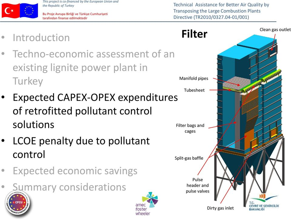 LCOE penalty due to pollutant control Expected economic savings Summary considerations Filter Manifold pipes