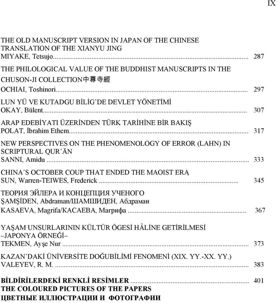 .. 307 ARAP EDEBİYATI ÜZERİNDEN TÜRK TARİHİNE BİR BAKIŞ POLAT, İbrahim Ethem... 317 NEW PERSPECTIVES ON THE PHENOMENOLOGY OF ERROR (LAHN) IN SCRIPTURAL QUR ĀN SANNI, Amidu.