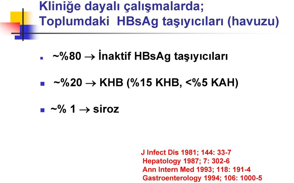KAH) ~% 1 siroz J Infect Dis 1981; 144: 33-7 Hepatology 1987; 7: