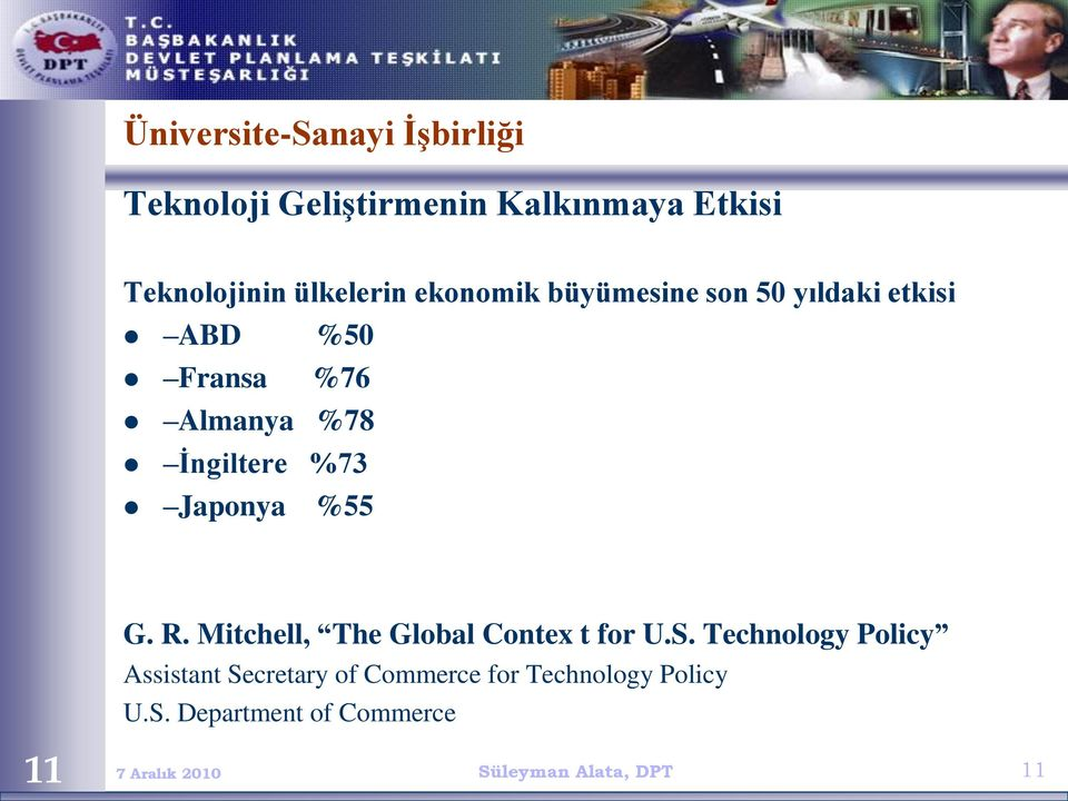 İngiltere %73 Japonya %55 G. R. Mitchell, The Global Contex t for U.S.