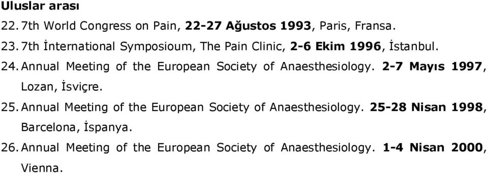 Annual Meeting of the European Society of Anaesthesiology. 2-7 Mayıs 1997, Lozan, İsviçre. 25.