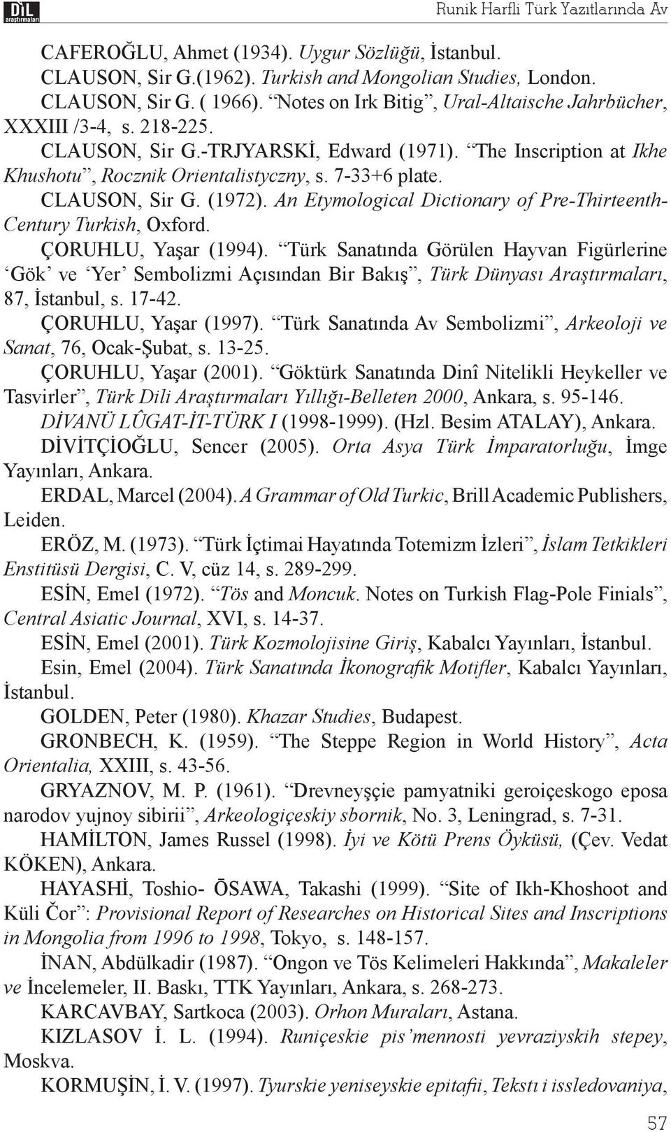 CLAUSON, Sir G. (1972). An Etymological Dictionary of Pre-Thirteenth- Century Turkish, Oxford. ÇORUHLU, Ya ar (1994).