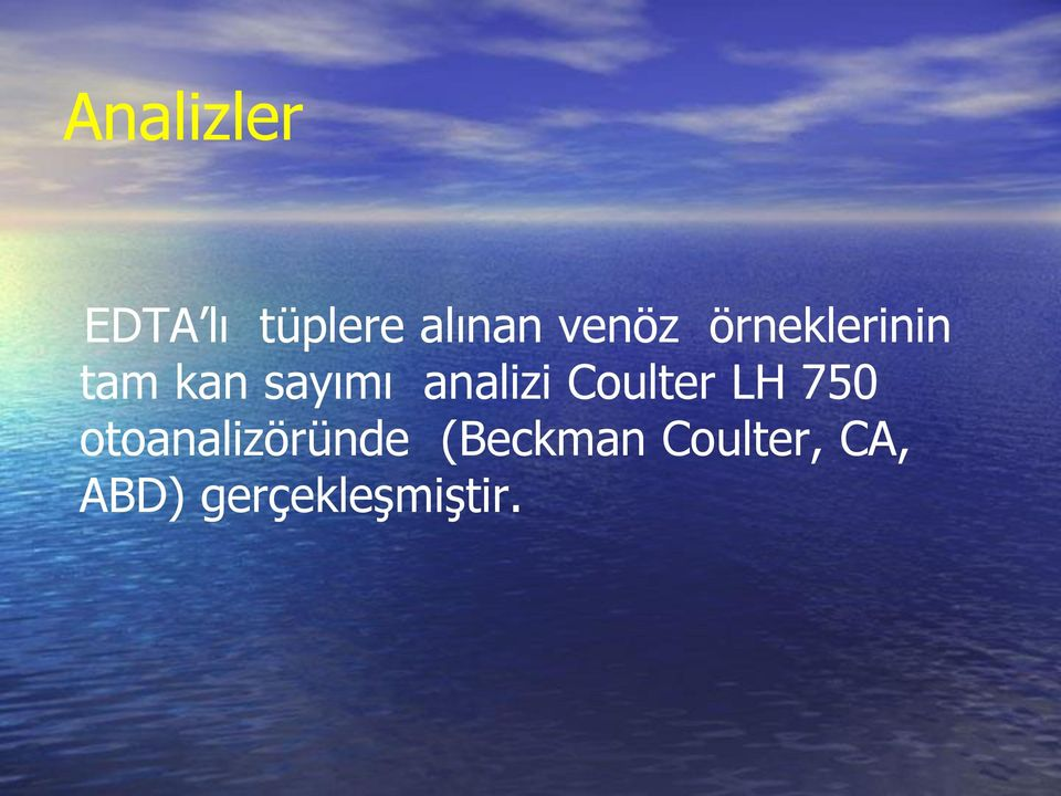analizi Coulter LH 750