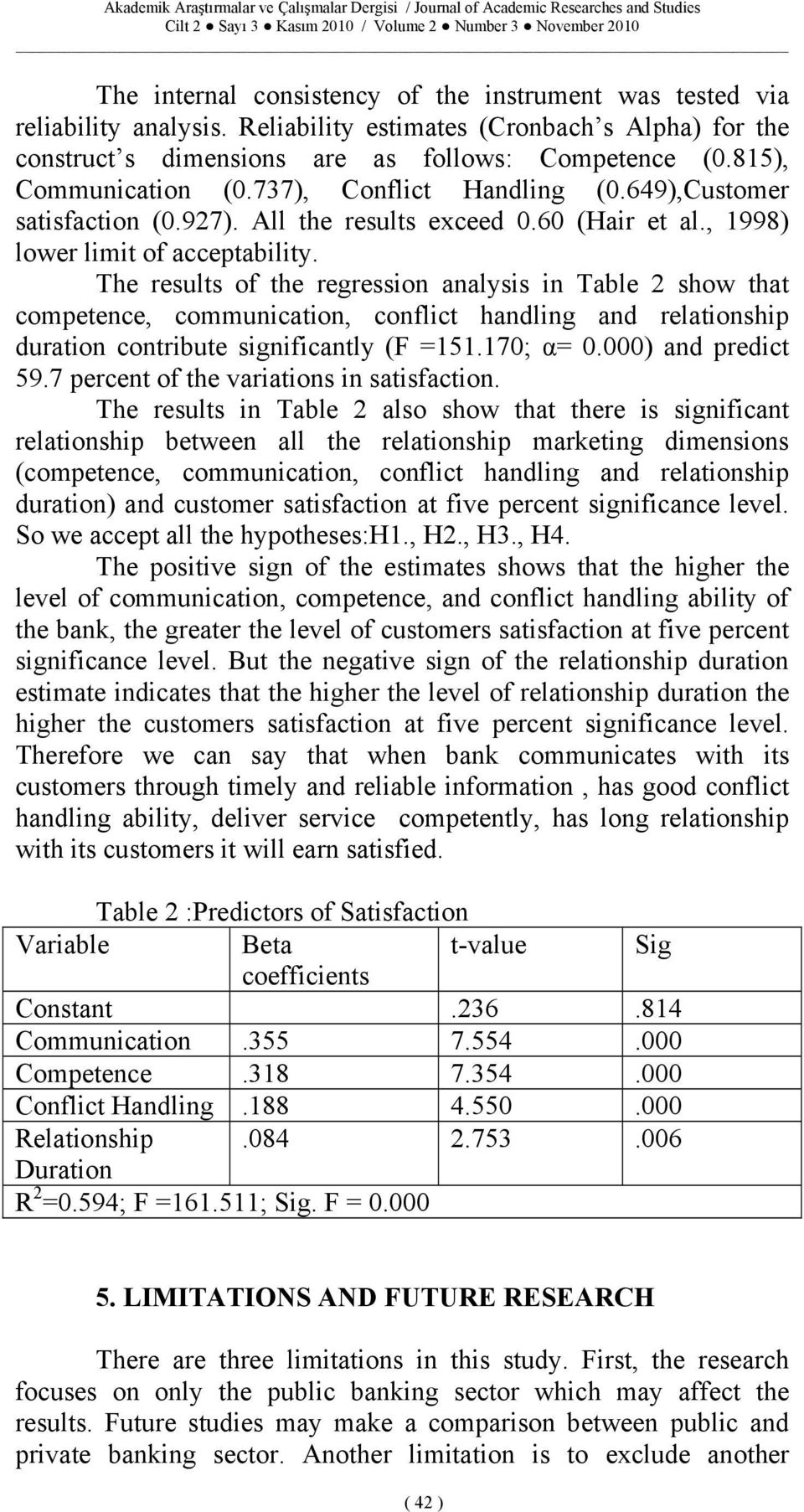 The results of the regression analysis in Table 2 show that competence, communication, conflict handling and relationship duration contribute significantly (F =151.170; α= 0.000) and predict 59.
