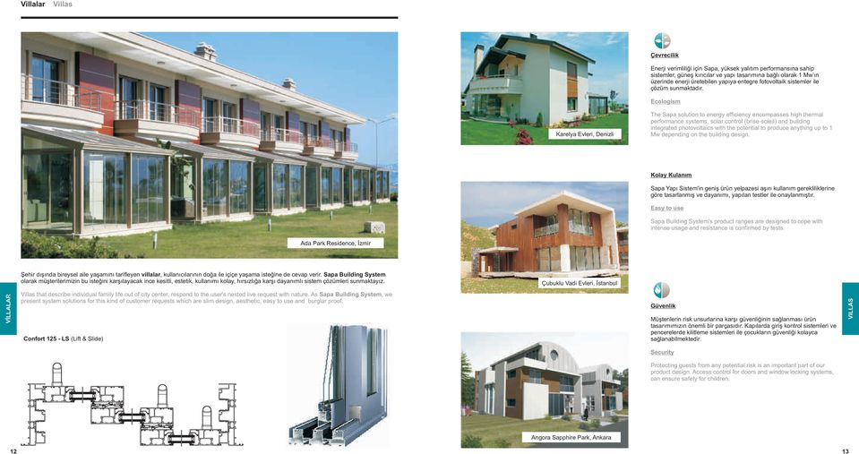 Ecologism Karelya Evleri, Denizli The Sapa solution to energy efficiency encompasses high thermal performance systems, solar control (brise-soleil) and building integrated photovoltaics with the