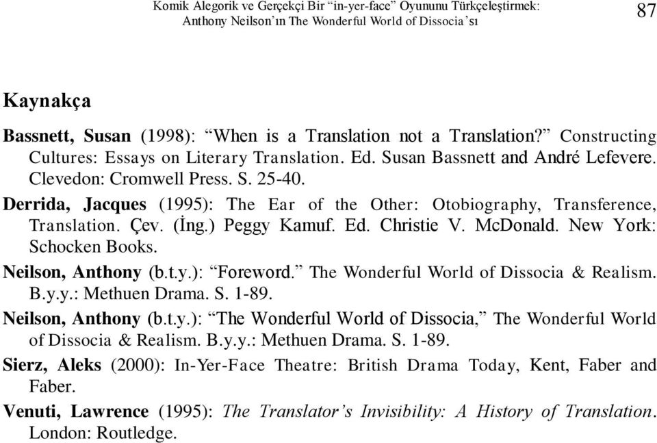 Derrida, Jacques (1995): The Ear of the Other: Otobiography, Transference, Translation. Çev. (İng.) Peggy Kamuf. Ed. Christie V. McDonald. New York: Schocken Books. Neilson, Anthony (b.t.y.): Foreword.