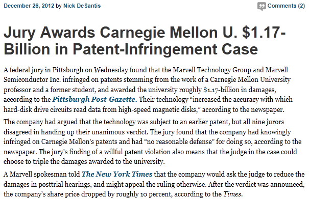 IP WARS: $1.17 Billion Award in Patent Infringement Case http://chronicle.