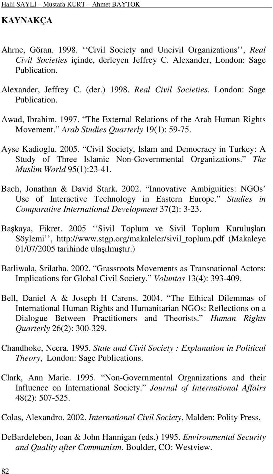 Ayse Kadioglu. 2005. Civil Society, Islam and Democracy in Turkey: A Study of Three Islamic Non-Governmental Organizations. The Muslim World 95(1):23-41. Bach, Jonathan & David Stark. 2002.