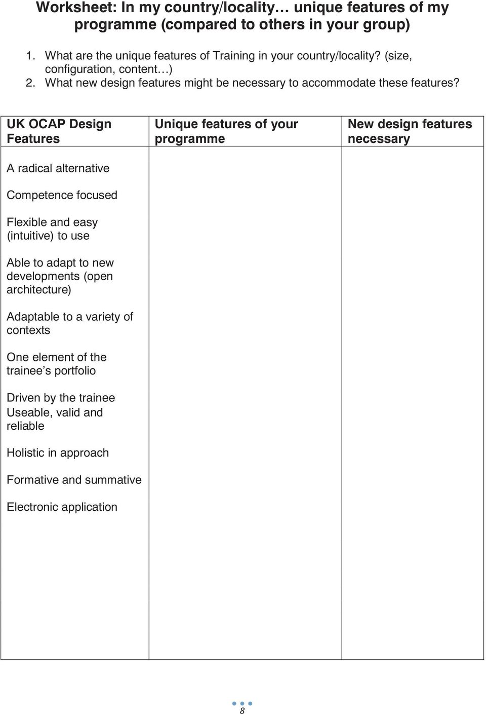 UK OCAP Design Features A radical alternative Competence focused Flexible and easy (intuitive) to use Able to adapt to new developments (open architecture) Adaptable to a