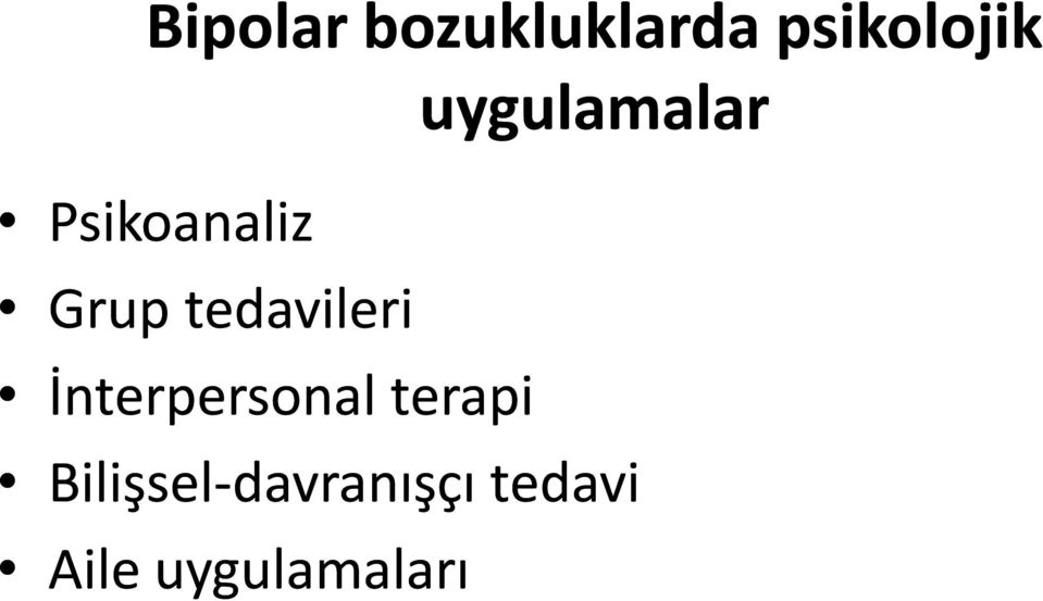 İnterpersonal terapi uygulamalar
