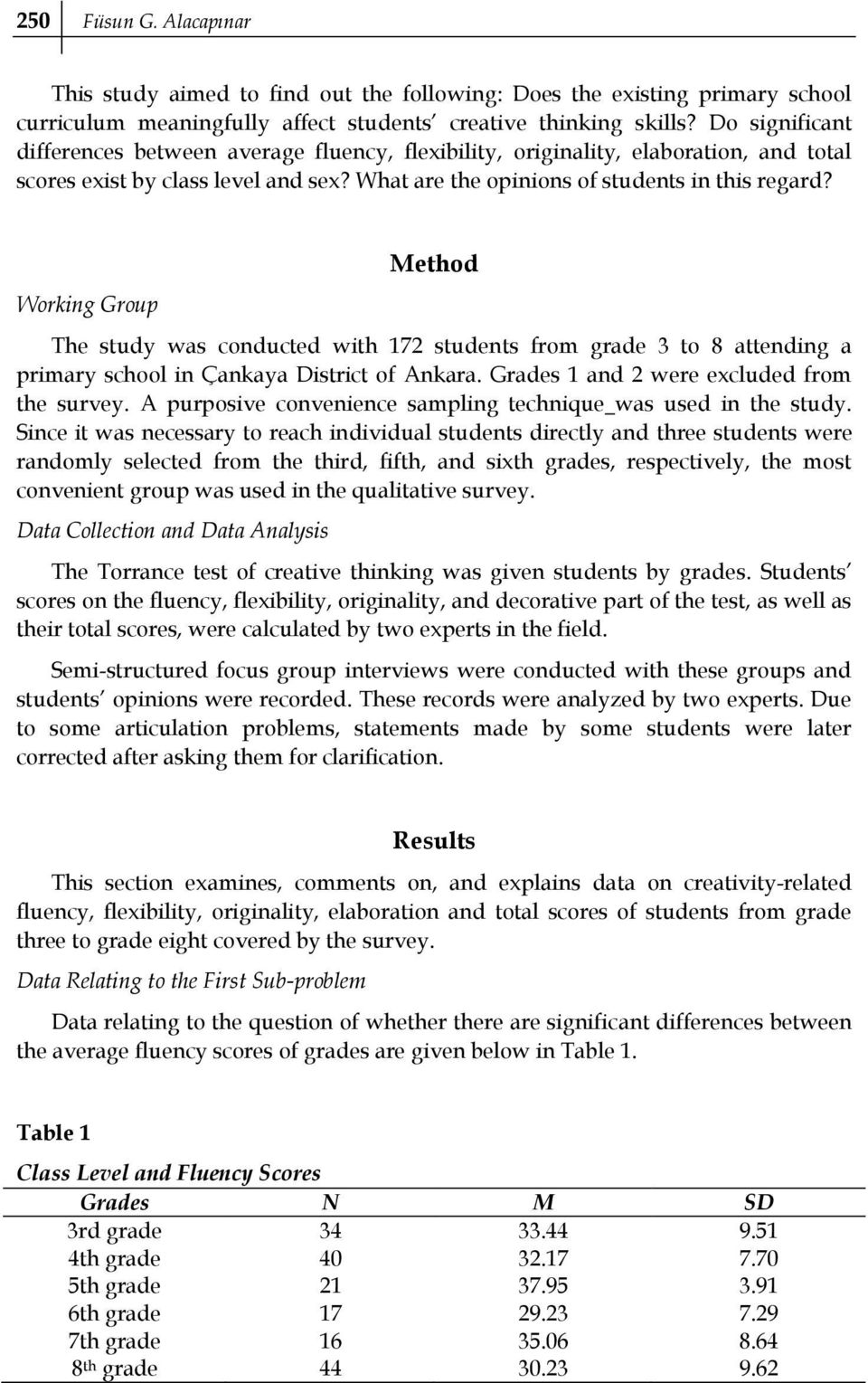 Working Group Method The study was conducted with 172 students from grade 3 to 8 attending a primary school in Çankaya District of Ankara. Grades 1 and 2 were excluded from the survey.