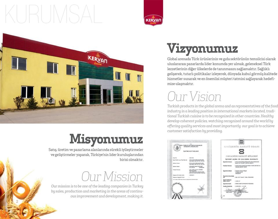 Misyonumuz Our Vision Turkish products in the global arena and as representatives of the food industry in a leading position in international markets located, traditional Turkish cuisine is to be