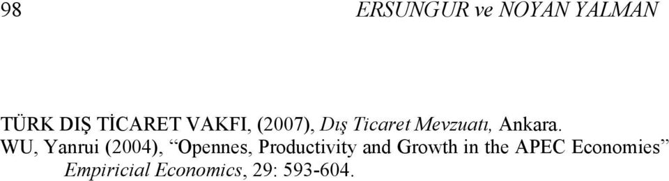 WU, Yanrui (2004), Opennes, Productivity and