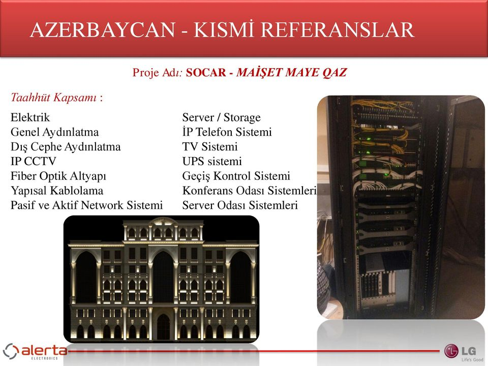Kablolama Pasif ve Aktif Network Sistemi Server / Storage İP Telefon Sistemi TV