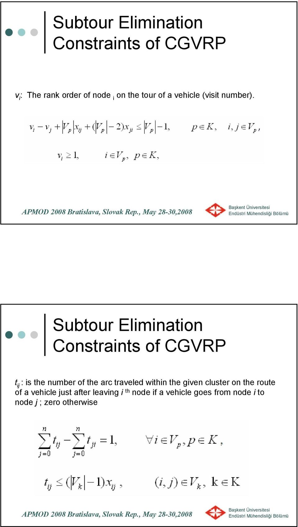 Subtour Elimination Constraints of CGVRP t ij : is the number of the arc traveled