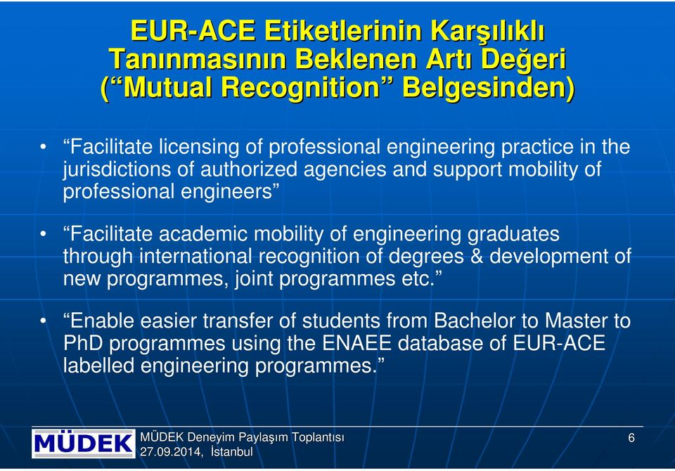 academic mobility of engineering graduates through international recognition of degrees & development of new programmes, joint programmes etc.