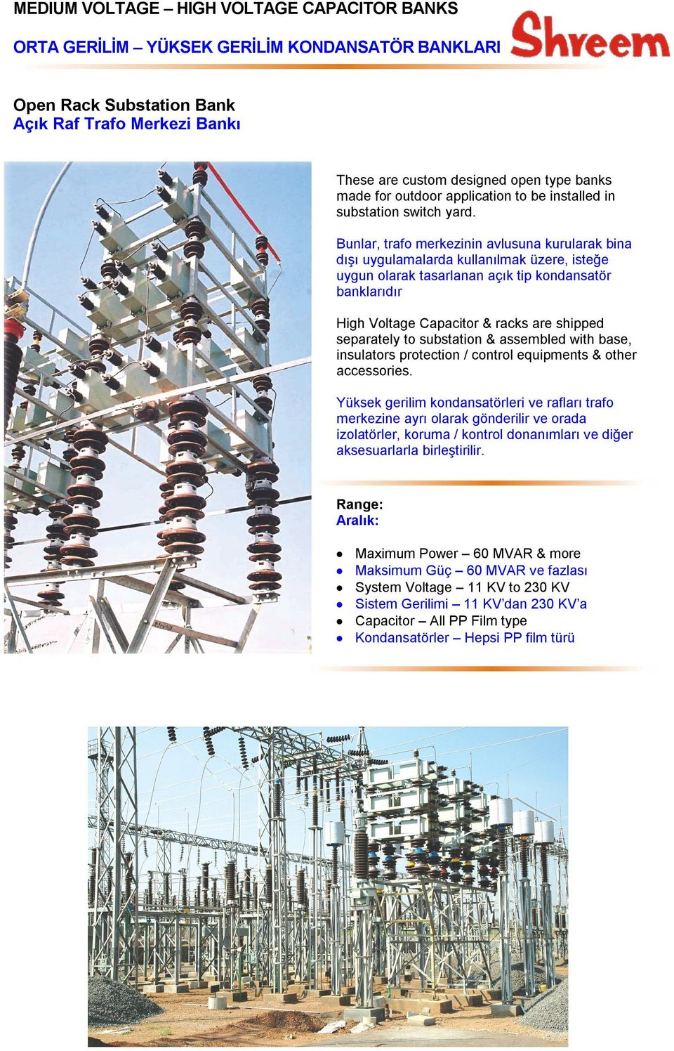 separately to substation & assembled with base, insulators protection / control equipments & other accessories.