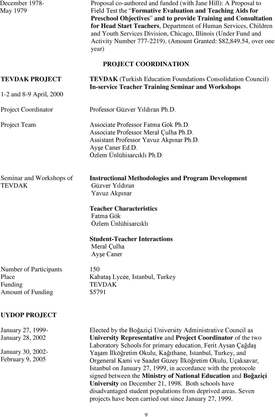 54, over one year) PROJECT COORDINATION TEVDAK PROJECT 1-2 and 8-9 April, 2000 Project Coordinator Project Team TEVDAK (Turkish Education Foundations Consolidation Council) In-service Teacher